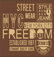 Freedom style typography t-shirt graphics vector image vector image