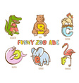Funny zoo animals kids alphabet Hand drawn ink