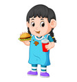 girl eating fast food vector image