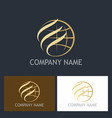 gold globe abstract company logo vector image vector image