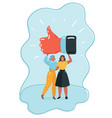 happy young woman holding gesturing thumbs up vector image vector image