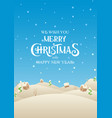 holiday christmas village with text merry vector image vector image