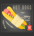hot dog on chalkboard vector image vector image