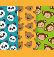little and cute animals heads patterns backgrounds vector image