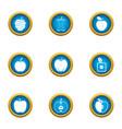 malic icons set flat style vector image