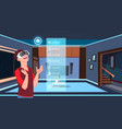 man in 3d glasses using smart home app over living vector image vector image