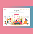 nice party cartoon landing page template vector image vector image