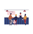people customers sitting on bar counter at coffee vector image