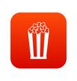 popcorn in striped bucket icon digital red vector image vector image