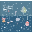 Post card with hand drawn christmas doodle vector image vector image