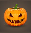 pumpkin for halloween with text mouth vector image vector image