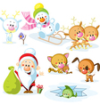 Santa Claus with snowman cute Christmas animals vector image