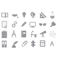School elements gray icons set