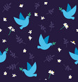 seamless pattern with doves flowers and leaves vector image
