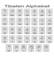 Set of monochrome icons with tibetan alphabet vector image vector image
