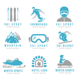 Ski resort and mountain hotel logo set with skiing vector image vector image