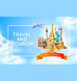 travelling and tourism poster design 3d vector image vector image