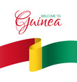 welcome to guinea card with flag of guinea vector image