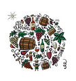 winery set background for your design vector image vector image