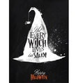 Witch hat halloween poster chalk vector image