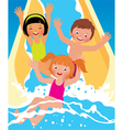 Child boys and girl playing in water park vector image