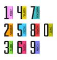Numbers set design element vector image