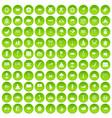 100 asian icons set green circle vector image vector image