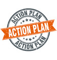 action plan round grunge ribbon stamp vector image vector image