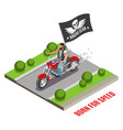biker isometric composition vector image