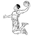 black male basketball player jumping to shoot the vector image vector image