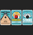 bowling club posters ball and pin strike sport vector image