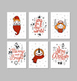 cards set cute cartoon christmas characters vector image vector image