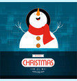 christmas card with snow man blue background vector image vector image