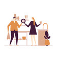 couple washing dishes - flat design style colorful vector image