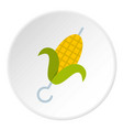 delicious grilled corn in skewer icon circle vector image