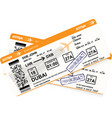 design of aircraft boarding pass in orange colors vector image
