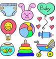 doodle of baby theme toy set vector image vector image