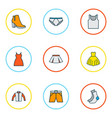 dress icons colored line set with gown cardigan vector image vector image