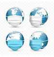 earth globe in medical face mask world map set vector image