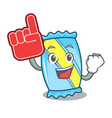 foam finger candy mascot cartoon style vector image vector image