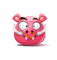 funny cute crazy boar smiley symbol of 2019 vector image