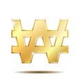 gold shiny korean won symbol vector image vector image