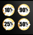 golden numbers with percentage on a black vector image