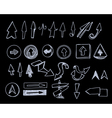 Hand-drawn arrows set on black vector image vector image