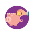 hand with saving piggy and coin vector image