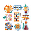 japanese restaurant food with plate chopsticks vector image vector image