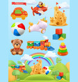 kids toys set 3d background plasticine art vector image