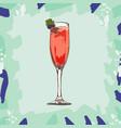 kir royale cocktail hand drawn vector image