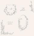 line drawing leaf branch wreaths frames vector image vector image