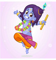 little cartoon krishna dance vector image